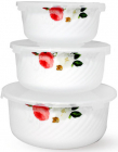 "Набір 3 салатника ""Троянда-Бутік"" Ø14см, Ø16.5см і Ø19см з кришками, склокераміка"