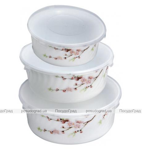 "Набор 3 салатника ""Японская Вишня"" с крышками, стеклокерамика"
