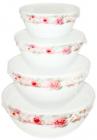"""Набір 4 салатника """"Версаль Троянди"""" Ø10см, Ø12.5см, Ø15см і Ø17.5см з кришками, склокераміка"""