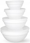Набор 4 салатника White Waves с крышками Ø10см, Ø12.5см, Ø15см, Ø17.5 стеклокерамика