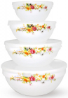"""Набор 4 салатника """"Чайная Роза"""" с крышками Ø10см, Ø12.5см, Ø15см, Ø17.5 стеклокерамика"""