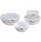 Набор 4 салатника Японская Вишня с крышками, стеклокерамика