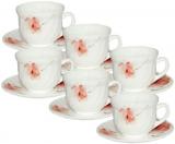 """Набір чашок для чаю """"Квіткова акварель"""" 190мл на 6 персон, склокераміка"""