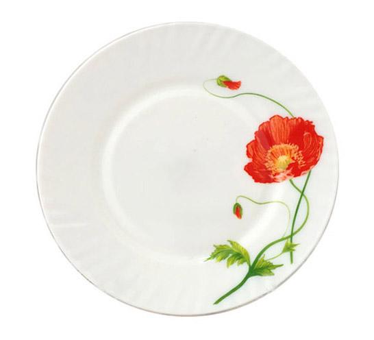 """Набор 6 десертных тарелок """"Красный мак"""" 17.5см, стеклокерамика"""