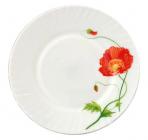 Набор 6 мелких тарелок Красный мак Ø20см, стеклокерамика
