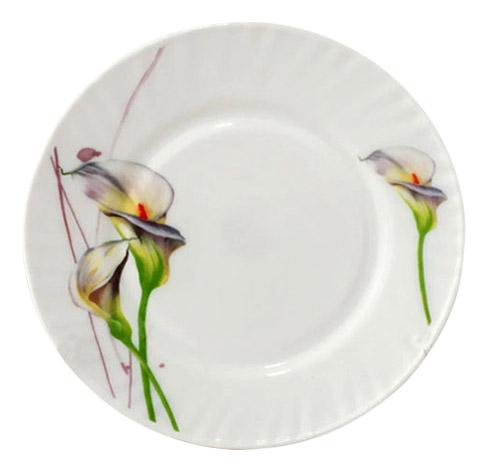 """Набор 6 мелких тарелок """"Каллы"""" Ø20см, стеклокерамика"""