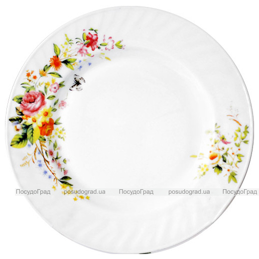 "Набір 6 тарілок обідніх ""Чайна Троянда"" Ø20.5см, склокераміка"