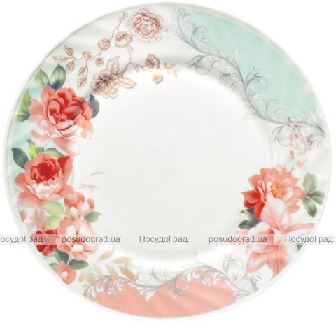 """Набір 6 обідніх тарілок """"Версаль Троянди"""" Ø23см, склокераміка"""