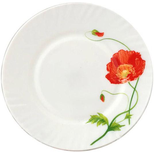 """Набор 6 обеденных тарелок """"Красный мак"""" Ø22.5см, стеклокерамика"""