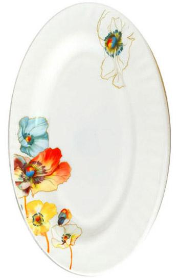 """Набор 2 блюда овальных """"Радужный мак"""" Ø35.5см, стеклокерамика"""