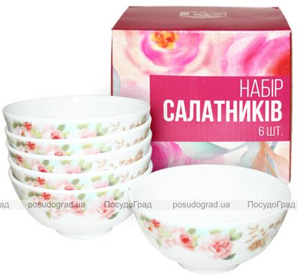 """Набір 6 салатників """"Версаль Троянди"""" Ø11.5см, склокераміка"""