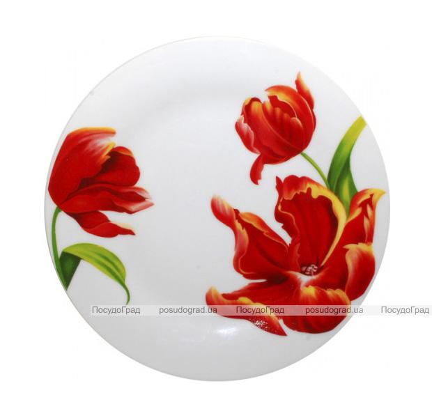"""Набор 6 десертных тарелок """"Красный тюльпан"""" Ø17.5см"""