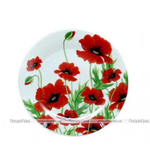 """Тарелка столовая мелкая """"Червоний мак"""" 20см"""