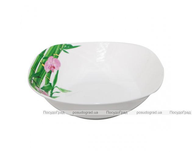 """Набор 6 квадратных салатников """"Бамбук и Орхидея розовая"""" Ø15см"""