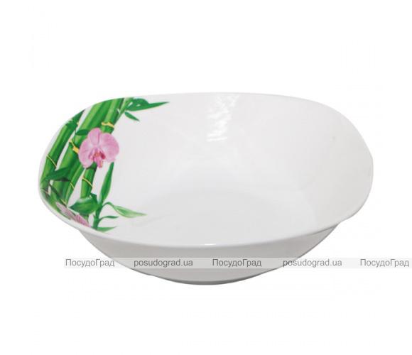 """Набор 6 квадратных салатников """"Бамбук и Орхидея розовая"""" Ø17.5см"""