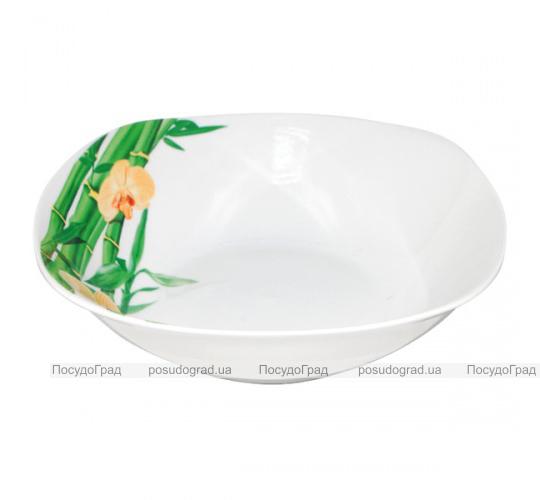 """Набор 6 квадратных салатников """"Бамбук и Орхидея желтая"""" Ø20см"""