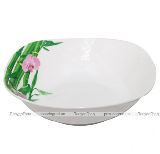 """Набор 6 квадратных салатников """"Бамбук и Орхидея розовая"""" Ø20см"""