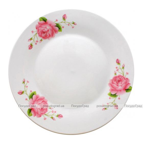 "Фарфоровая тарелка ""Розовая роза"" Ø18см мелкая"