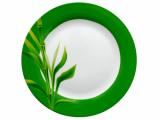 """Тарілка столова мілка """"Бамбук"""" кругла з зеленим обідком 19см"""