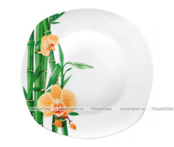 """Набор 6 квадратных десертных тарелок """"Бамбук и Орхидея желтая"""" Ø20см"""