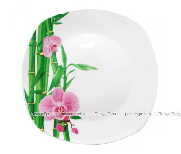 """Набор 6 квадратных десертных тарелок """"Бамбук и Орхидея розовая"""" Ø20см"""