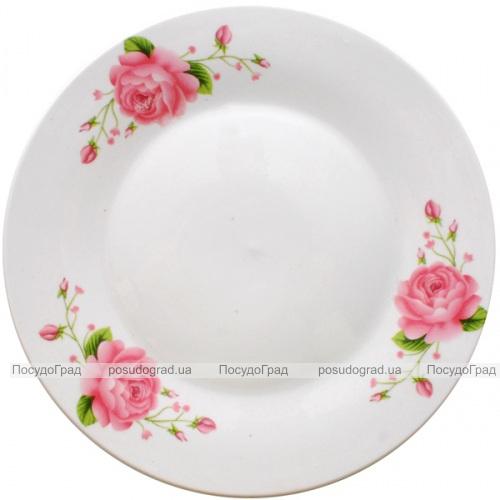 "Фарфоровая тарелка ""Розовая роза"" Ø23см мелкая"