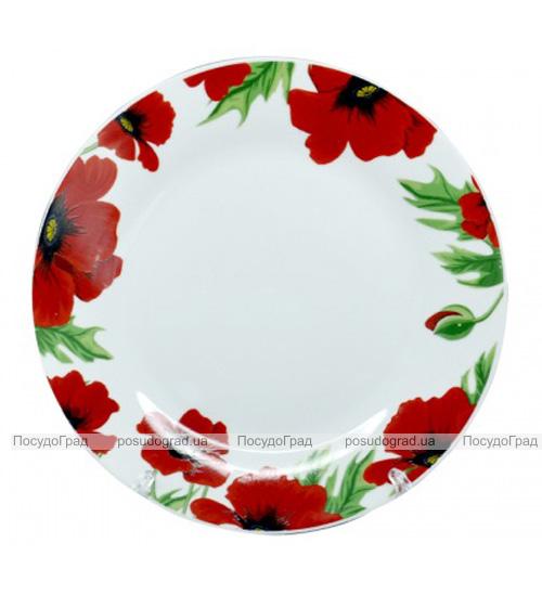 """Тарелка столовая мелкая """"Червоний мак"""" 23см"""