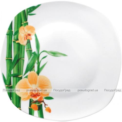 """Набор 6 квадратных подставных тарелок """"Бамбук и Орхидея желтая"""" Ø26см"""