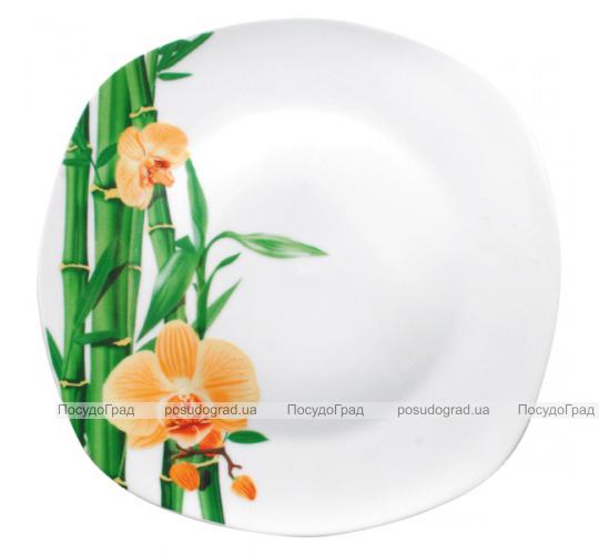 """Набор 6 квадратных мелких тарелок """"Бамбук и Орхидея желтая"""" Ø23см"""