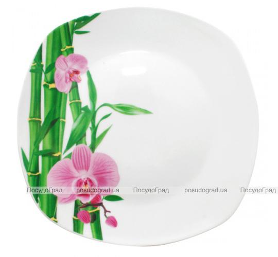 """Набор 6 квадратных мелких тарелок """"Бамбук и Орхидея розовая"""" Ø23см"""
