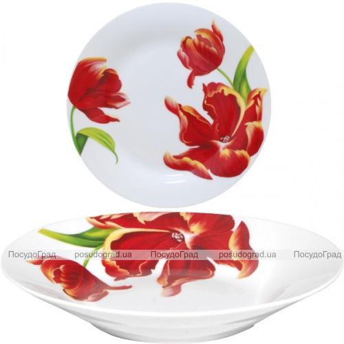 """Набор 6 суповых тарелок """"Красный тюльпан"""" Ø20.5см"""