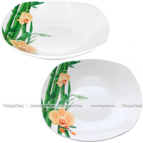 """Набор 6 квадратных суповых тарелок """"Бамбук и Орхидея желтая"""" Ø22.5см"""
