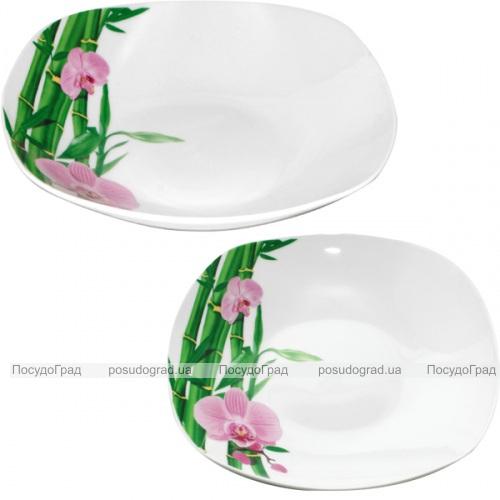 """Набор 6 квадратных суповых тарелок """"Бамбук и Орхидея розовая"""" Ø22.5см"""