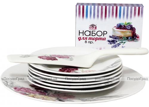 """Набор для торта """"Пион"""", блюдо Ø27см, 6 тарелок Ø18см и лопатка 27см (керамика)"""
