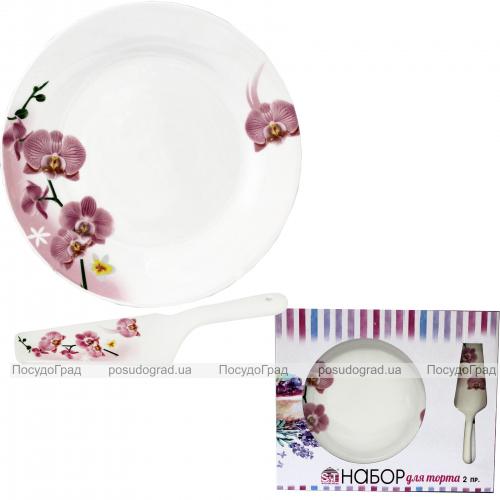 """Набор для торта """"Орхидея"""", блюдо Ø27см и лопатка 27см (керамика)"""