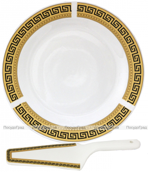 """Набор для торта """"Греция"""", блюдо Ø27см и лопатка 27см (керамика)"""