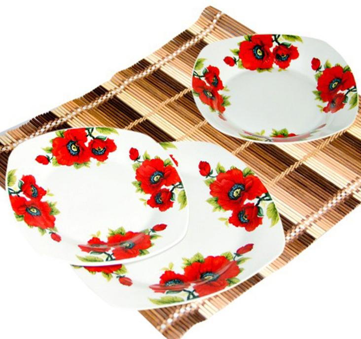 "Набор тарелок ""Маки"" 18 предметов на 6 персон"