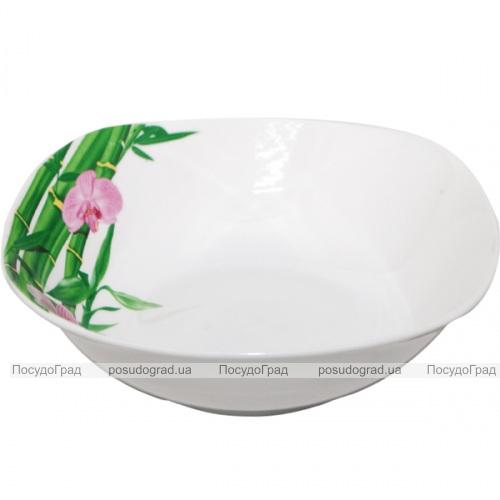"""Салатник квадратный """"Бамбук и Орхидея розовая"""" Ø22.5см"""