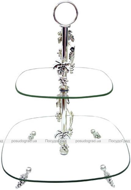Фруктовница Grapes 2-х ярусная декоративная 30х20см