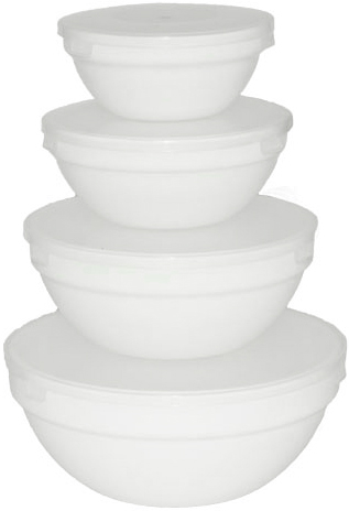 Набор 4 салатника Infinite Tenderness с крышками Ø10.5см, Ø12.5см, Ø15см, Ø18см, стеклокерамика