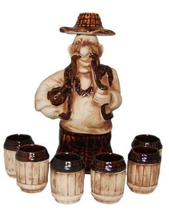 """Набор винный """"Гуцул"""" 6 винных стаканов 100мл и графин 860мл"""