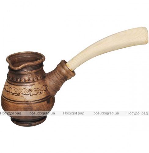 Турка керамическая высокая Покутская Керамика Шляхтянская 280мл с деревянной ручкой