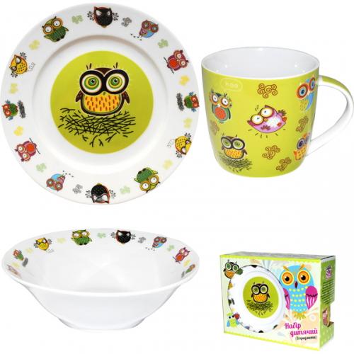 """Набор детский 3 предмета """"Совята"""", кружка, пиала и тарелка"""