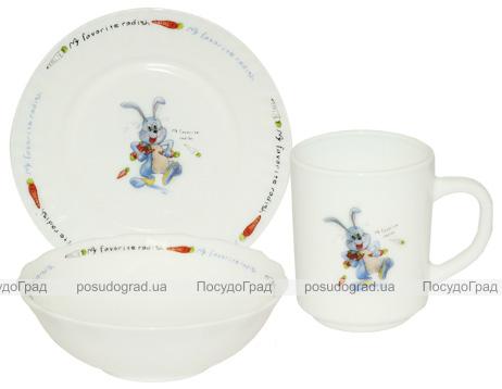 """Детский набор """"Веселый заяц"""" 3 предмета, стеклокерамика"""