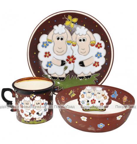 """Набор детский 3 предмета """"Добра глина"""" Овечки, кружка, пиала и тарелка"""