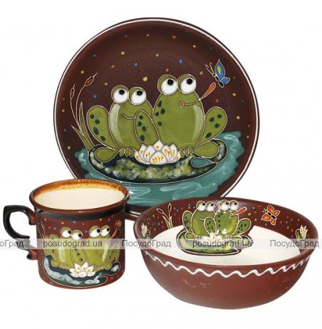 """Набор детский 3 предмета """"Добра глина"""" Лягушки, кружка, пиала и тарелка"""