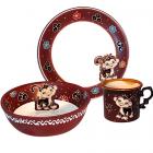 Набор детский 3 предмета Добра глина Обезьянка, кружка, пиала и тарелка