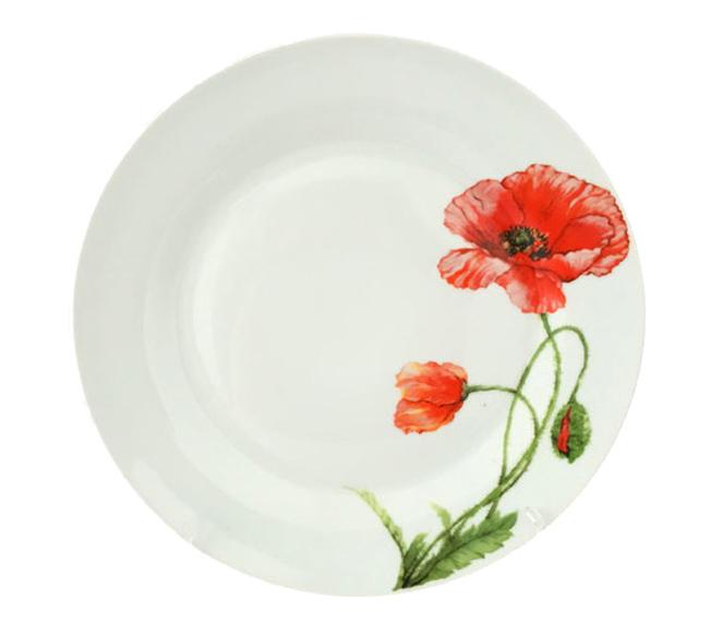 """Набор 6 десертных тарелок """"Красный мак"""" Ø19см, керамика"""