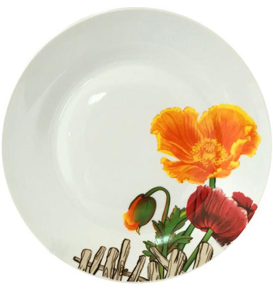 """Набор 6 подставных тарелок """"Оранжевый мак"""" Ø26.5см"""