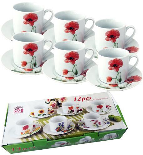 """Чайный набор """"Красный мак"""" 6 чашек 250мл и 6 блюдец"""